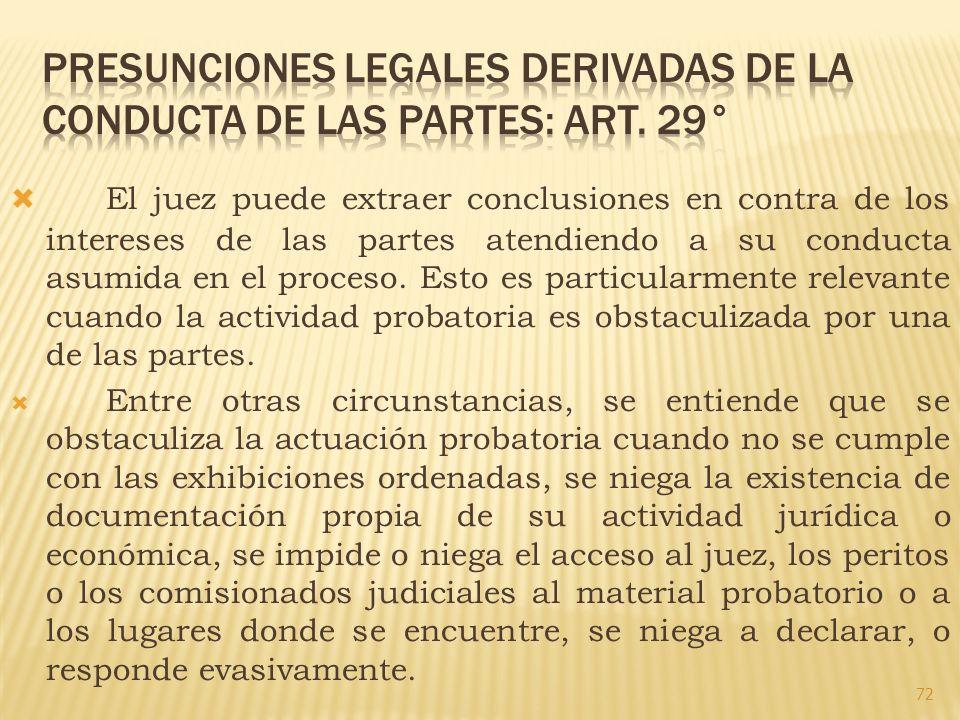 PRESUNCIONES LEGALES DERIVADAS DE LA CONDUCTA DE LAS PARTES: ART. 29°