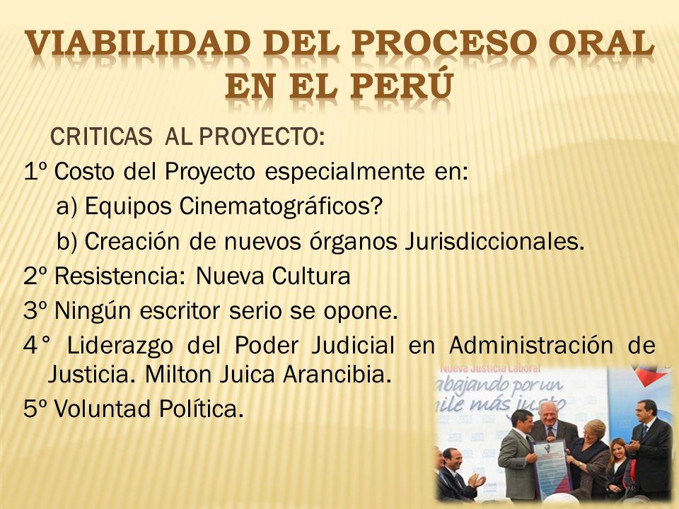 VIABILIDAD DEL PROCESO ORAL EN EL PERÚ