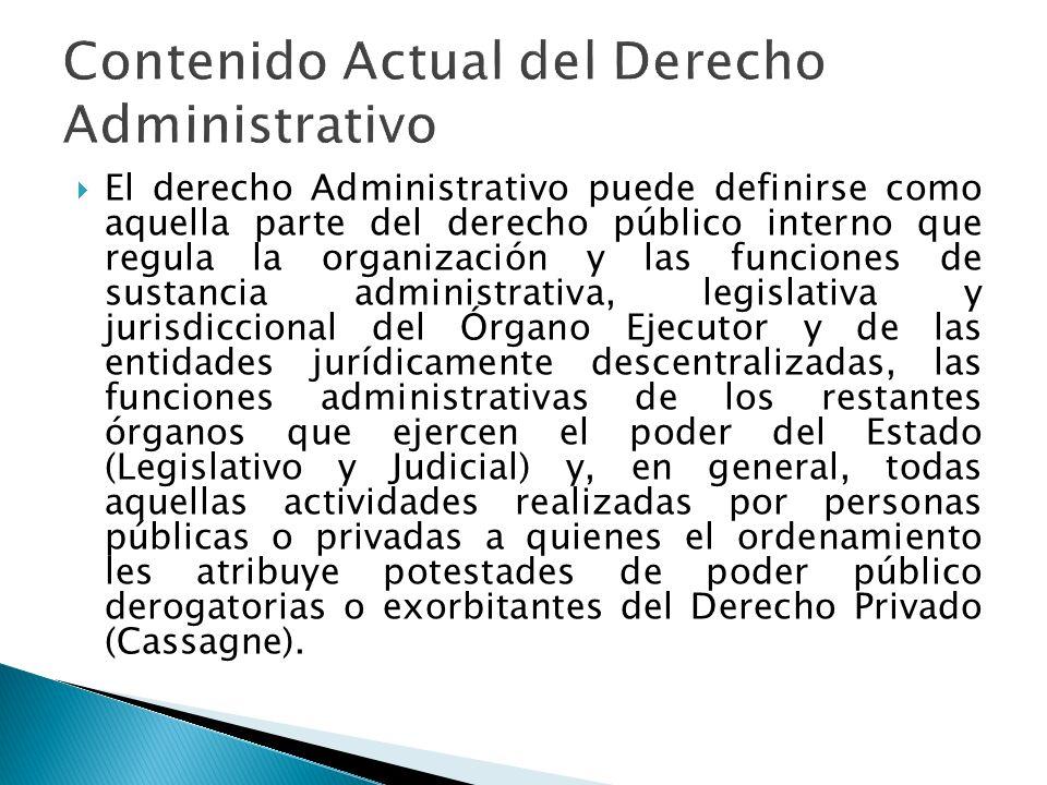 Contenido Actual del Derecho Administrativo
