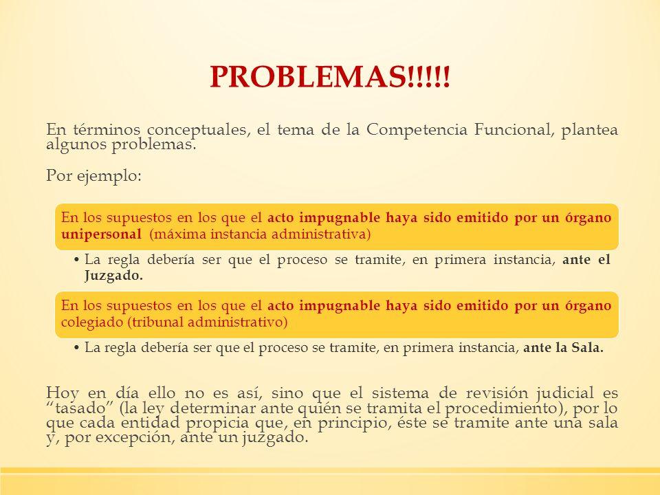 PROBLEMAS!!!!! En términos conceptuales, el tema de la Competencia Funcional, plantea algunos problemas.