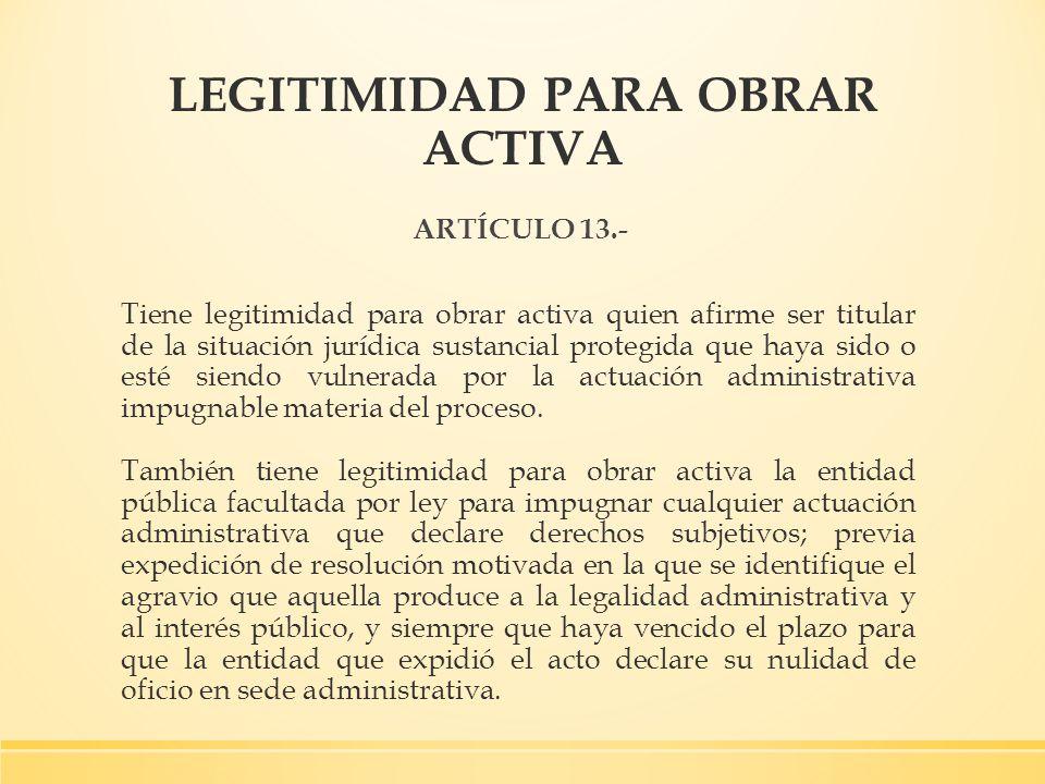 LEGITIMIDAD PARA OBRAR ACTIVA