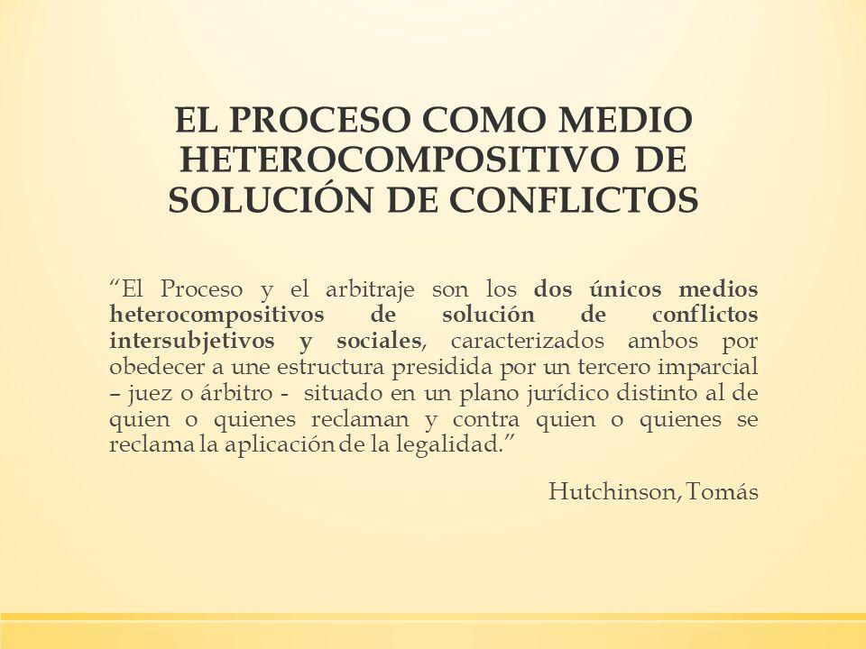 EL PROCESO COMO MEDIO HETEROCOMPOSITIVO DE SOLUCIÓN DE CONFLICTOS