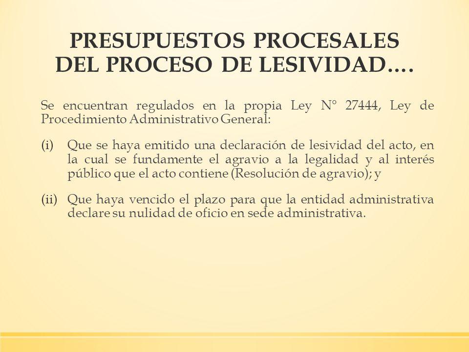 PRESUPUESTOS PROCESALES DEL PROCESO DE LESIVIDAD….