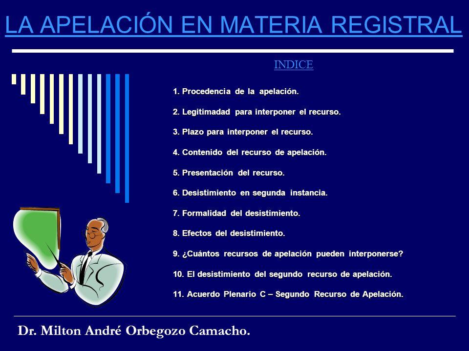 LA APELACIÓN EN MATERIA REGISTRAL