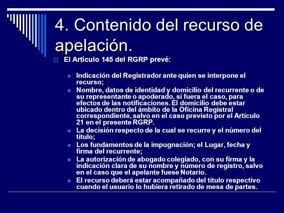 4. Contenido del recurso de apelación.