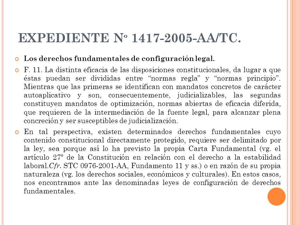 EXPEDIENTE Nº 1417-2005-AA/TC. Los derechos fundamentales de configuración legal.