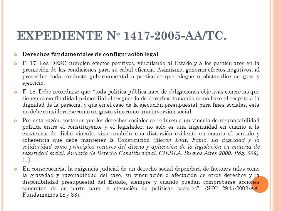 EXPEDIENTE Nº 1417-2005-AA/TC. Derechos fundamentales de configuración legal.