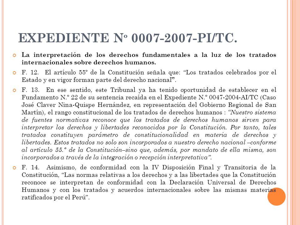 EXPEDIENTE Nº 0007-2007-PI/TC. La interpretación de los derechos fundamentales a la luz de los tratados internacionales sobre derechos humanos.
