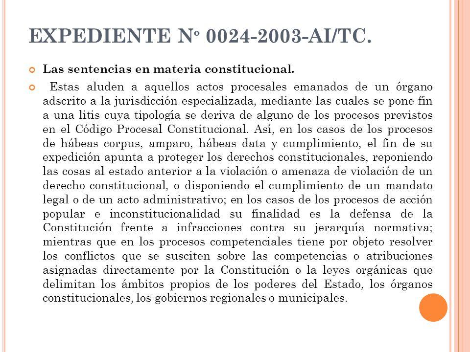 EXPEDIENTE Nº 0024-2003-AI/TC. Las sentencias en materia constitucional.