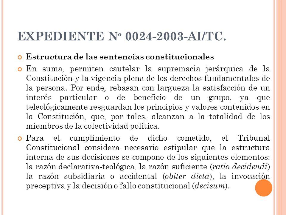EXPEDIENTE Nº 0024-2003-AI/TC. Estructura de las sentencias constitucionales.