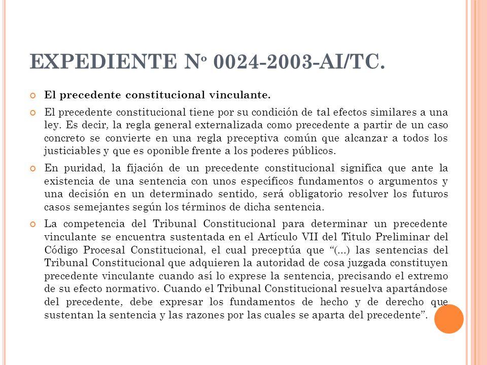 EXPEDIENTE Nº 0024-2003-AI/TC. El precedente constitucional vinculante.