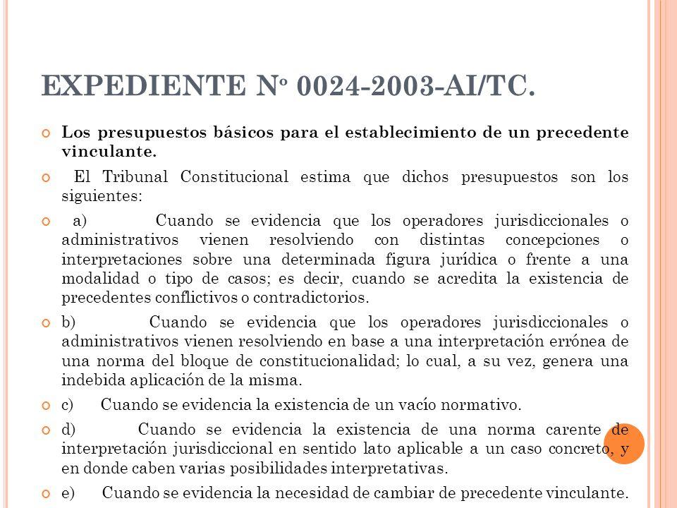 EXPEDIENTE Nº 0024-2003-AI/TC. Los presupuestos básicos para el establecimiento de un precedente vinculante.