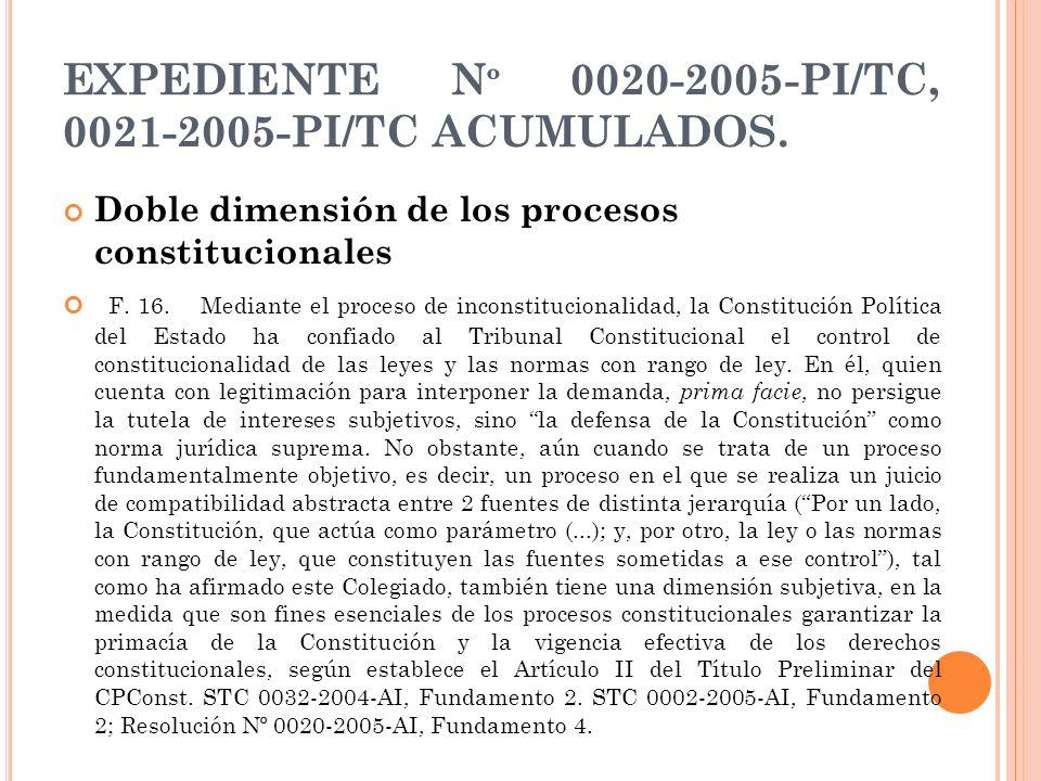 EXPEDIENTE Nº 0020-2005-PI/TC, 0021-2005-PI/TC ACUMULADOS.