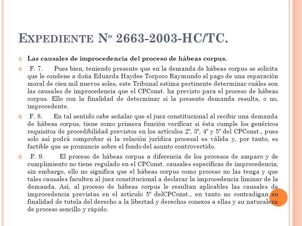 Expediente Nº 2663-2003-HC/TC. Las causales de improcedencia del proceso de hábeas corpus.