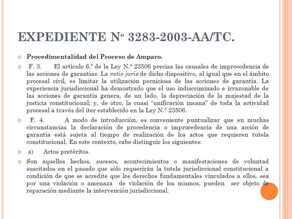 EXPEDIENTE Nº 3283-2003-AA/TC. Procedimentalidad del Proceso de Amparo.
