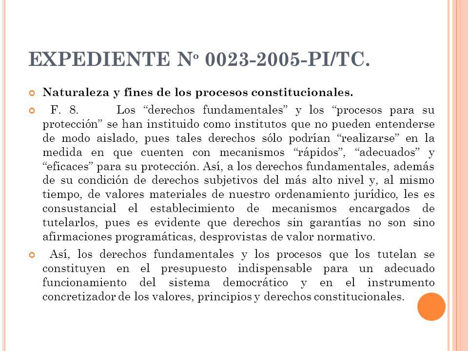 EXPEDIENTE Nº 0023-2005-PI/TC. Naturaleza y fines de los procesos constitucionales.