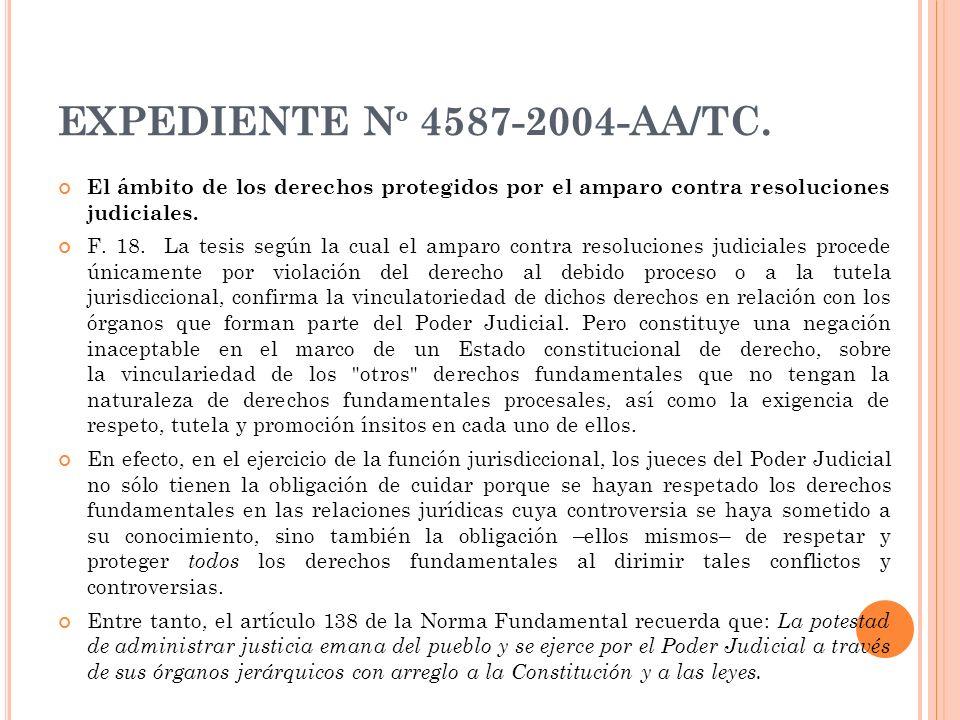 EXPEDIENTE Nº 4587-2004-AA/TC. El ámbito de los derechos protegidos por el amparo contra resoluciones judiciales.