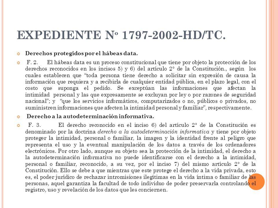 EXPEDIENTE Nº 1797-2002-HD/TC. Derechos protegidos por el hábeas data.
