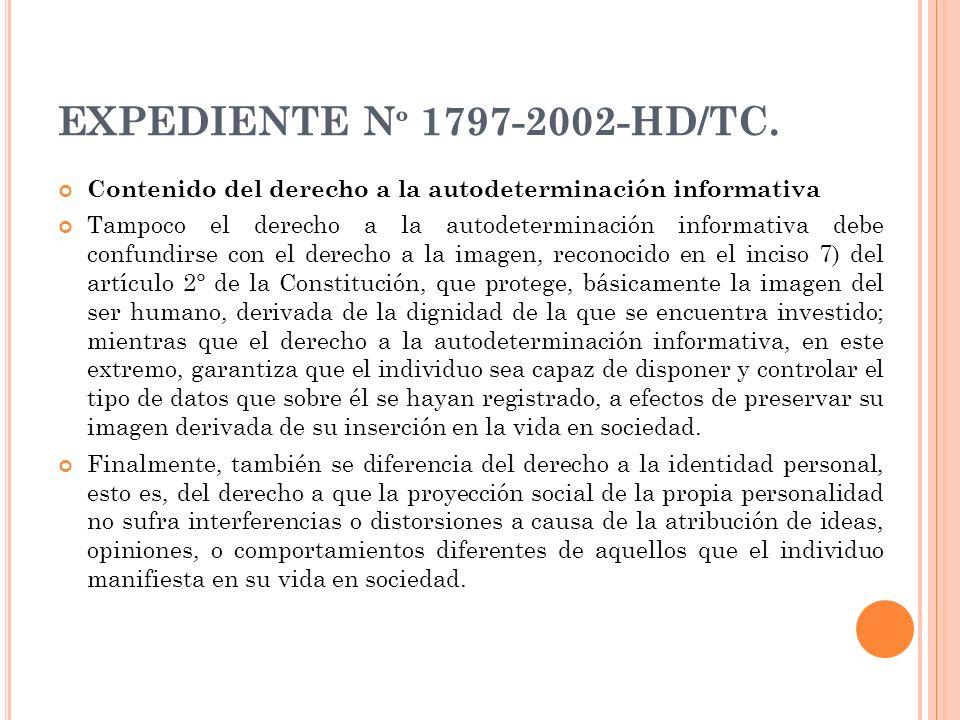 EXPEDIENTE Nº 1797-2002-HD/TC. Contenido del derecho a la autodeterminación informativa.