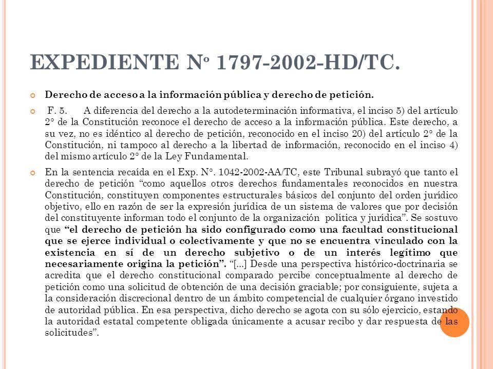 EXPEDIENTE Nº 1797-2002-HD/TC. Derecho de acceso a la información pública y derecho de petición.