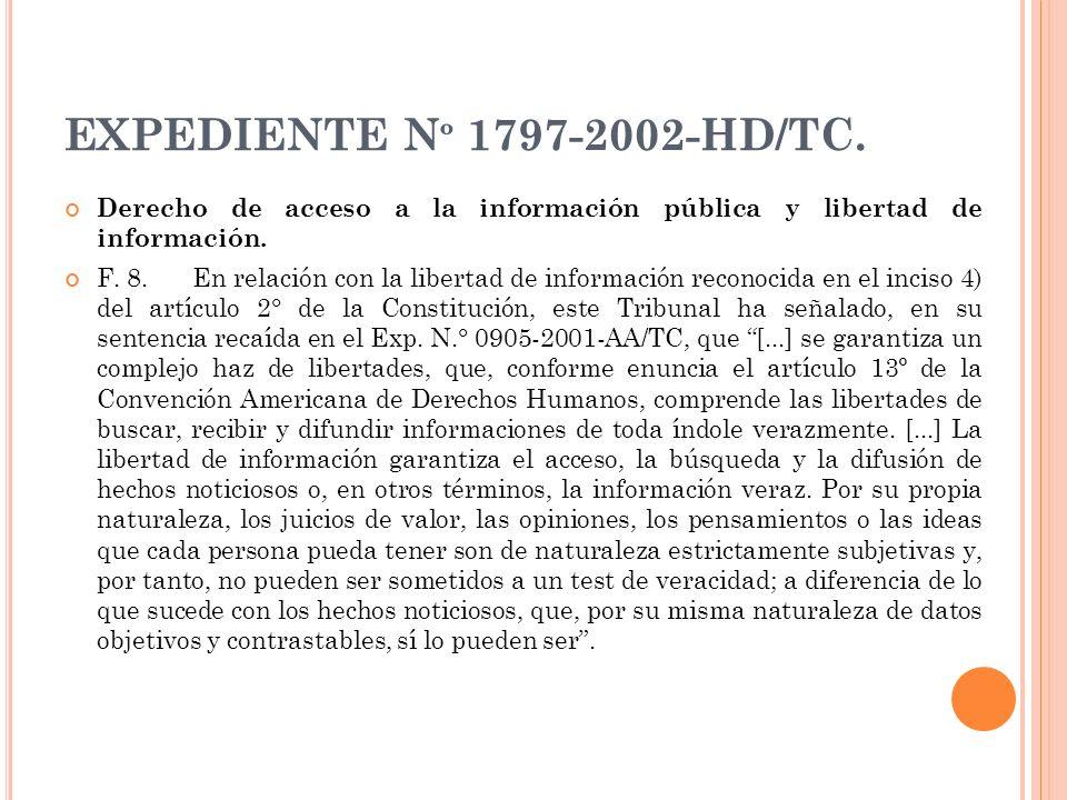 EXPEDIENTE Nº 1797-2002-HD/TC. Derecho de acceso a la información pública y libertad de información.