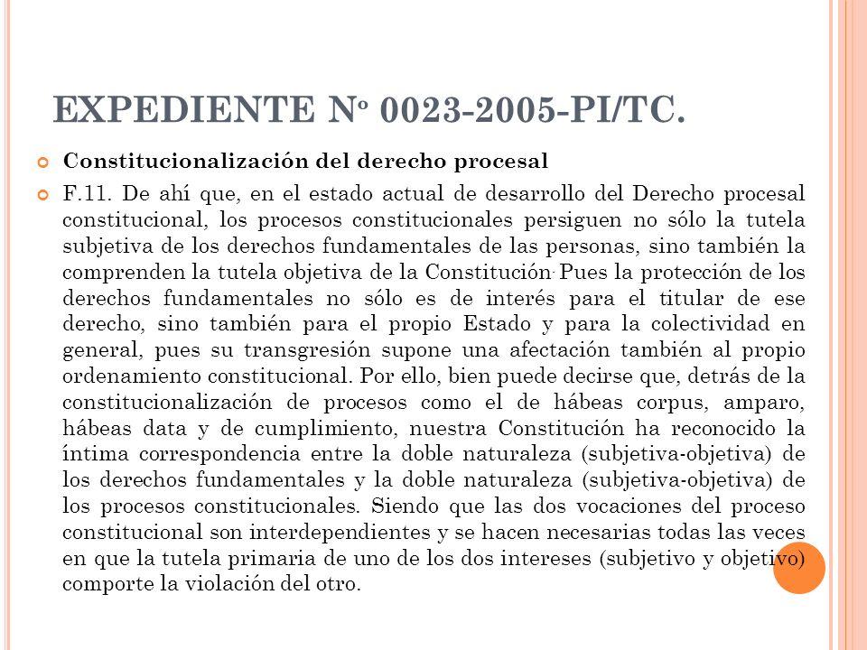 EXPEDIENTE Nº 0023-2005-PI/TC. Constitucionalización del derecho procesal.