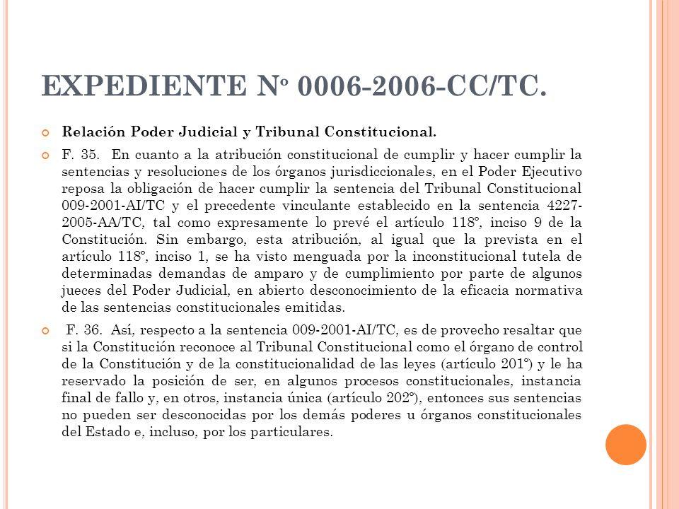 EXPEDIENTE Nº 0006-2006-CC/TC. Relación Poder Judicial y Tribunal Constitucional.