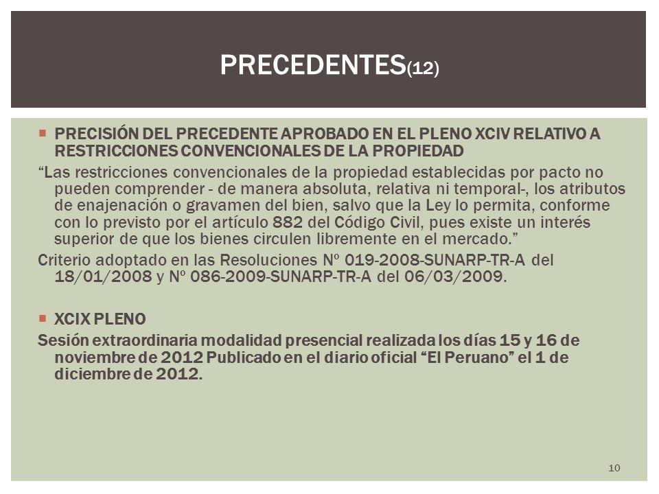 PRECEDENTES(12) PRECISIÓN DEL PRECEDENTE APROBADO EN EL PLENO XCIV RELATIVO A RESTRICCIONES CONVENCIONALES DE LA PROPIEDAD.