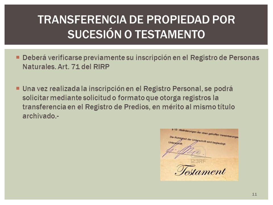 TRANSFERENCIA DE PROPIEDAD POR SUCESIÓN O TESTAMENTO