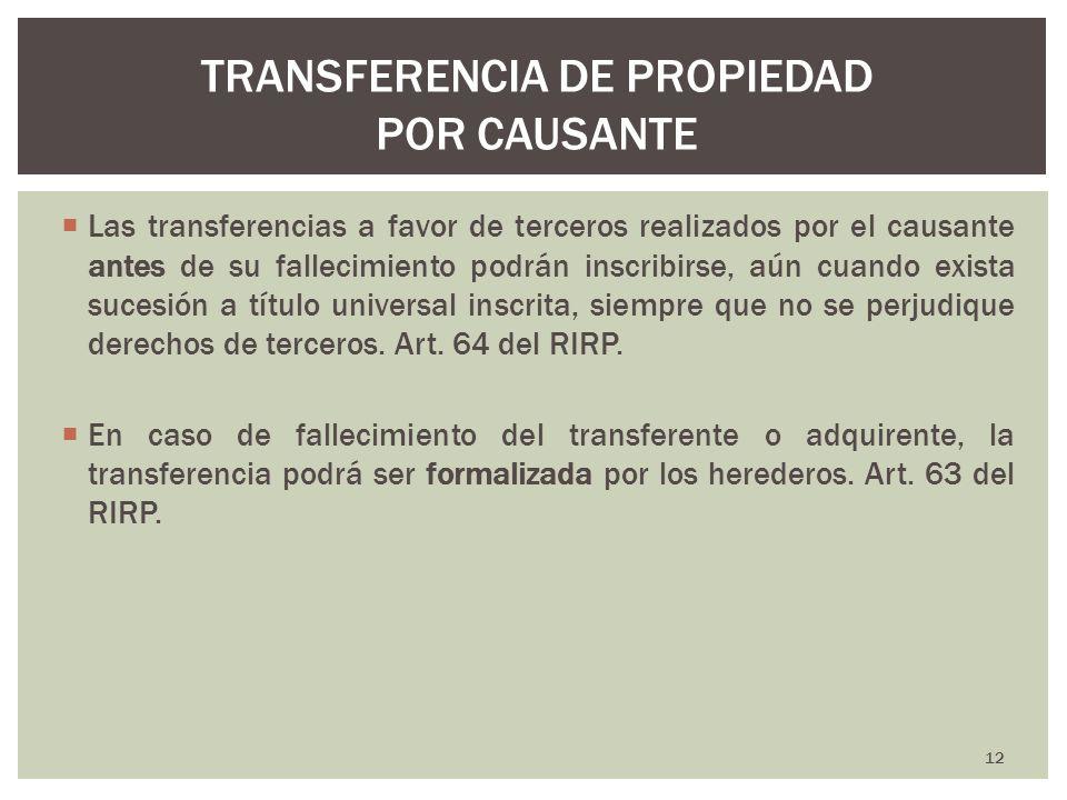 TRANSFERENCIA DE PROPIEDAD POR CAUSANTE