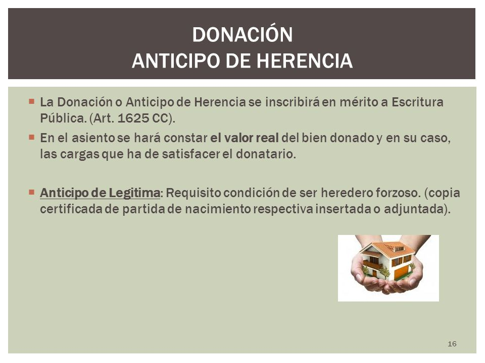 DONACIÓN ANTICIPO DE HERENCIA