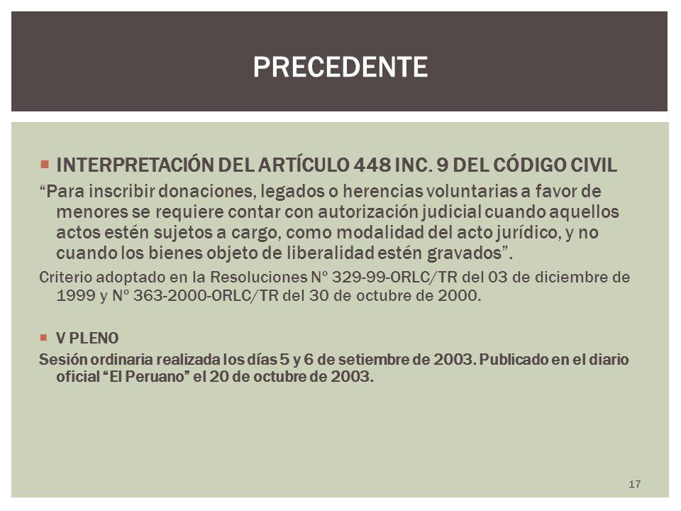 PRECEDENTE INTERPRETACIÓN DEL ARTÍCULO 448 INC. 9 DEL CÓDIGO CIVIL