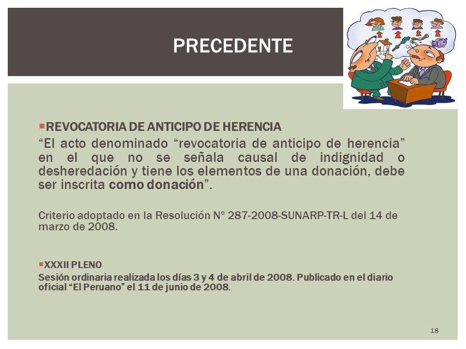 PRECEDENTEREVOCATORIA DE ANTICIPO DE HERENCIA.