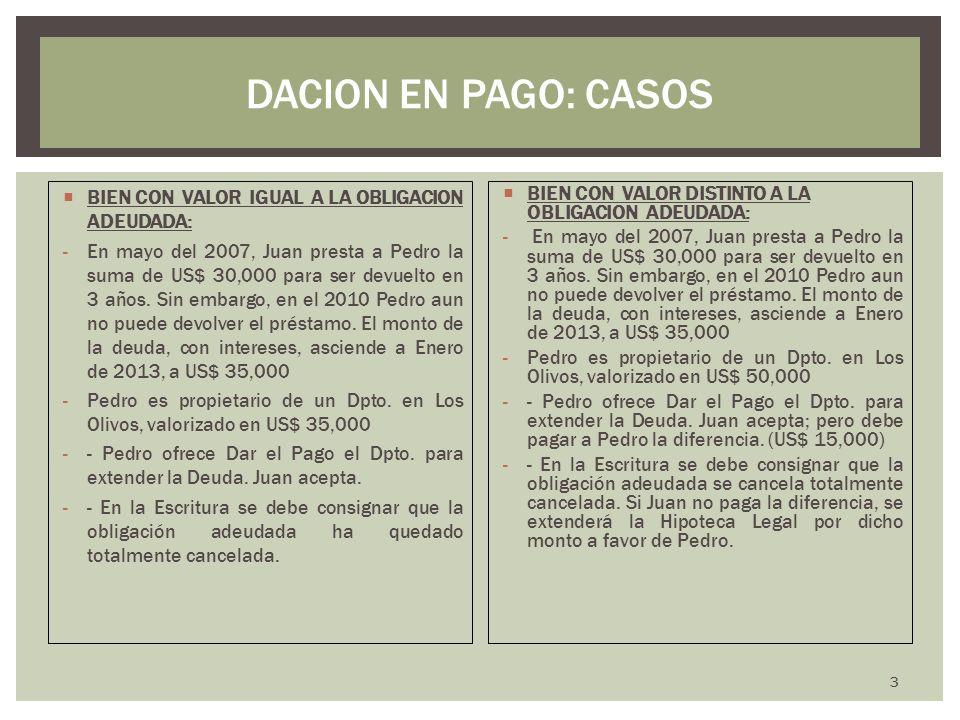 DACION EN PAGO: CASOS BIEN CON VALOR IGUAL A LA OBLIGACION ADEUDADA:
