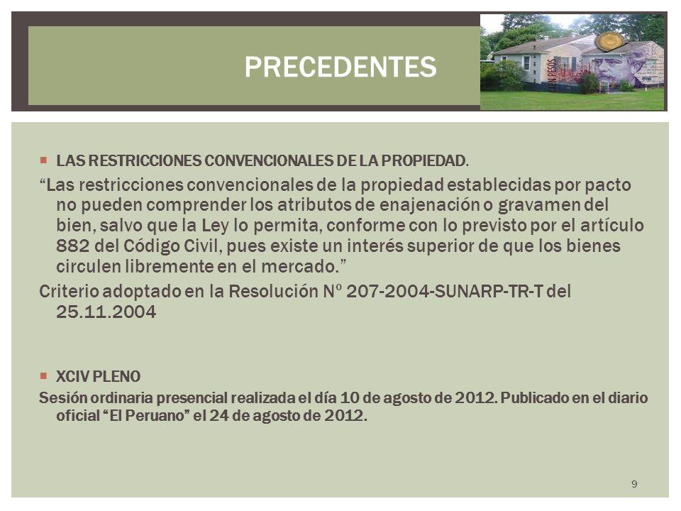 PRECEDENTESLAS RESTRICCIONES CONVENCIONALES DE LA PROPIEDAD.