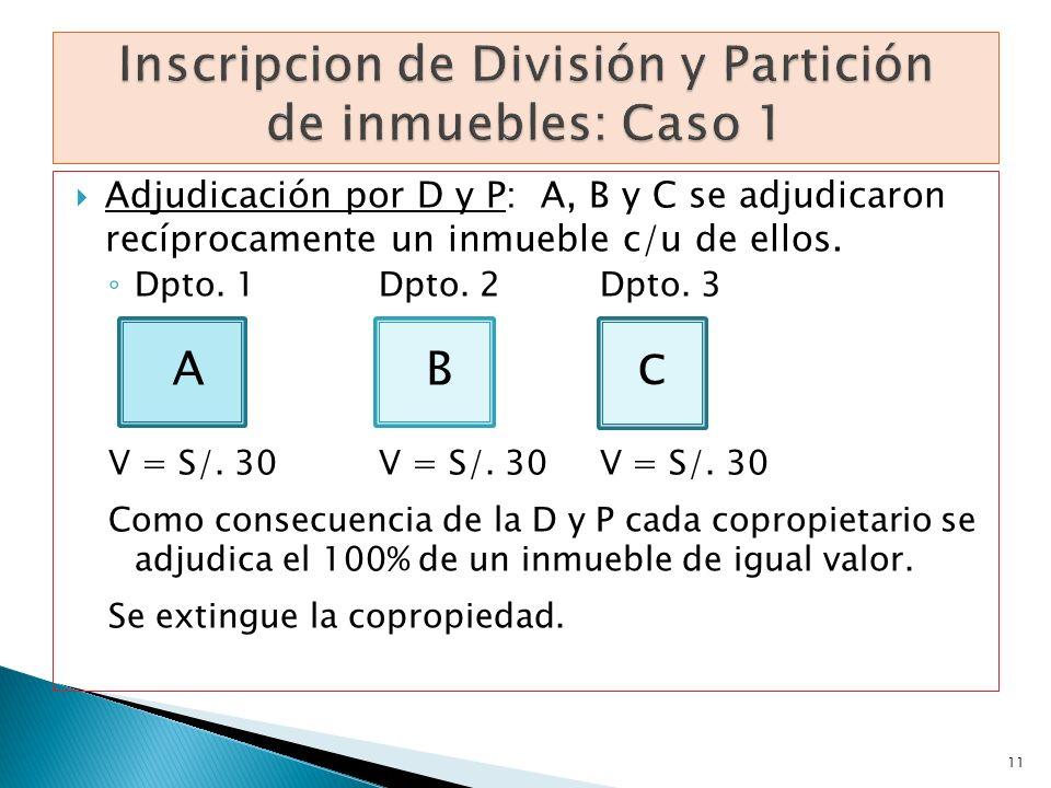 Inscripcion de División y Partición de inmuebles: Caso 1