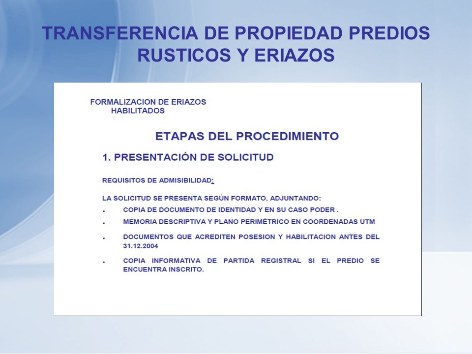 TRANSFERENCIA DE PROPIEDAD PREDIOS RUSTICOS Y ERIAZOS