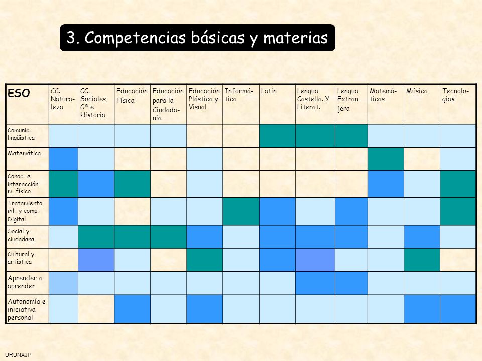 3. Competencias básicas y materias