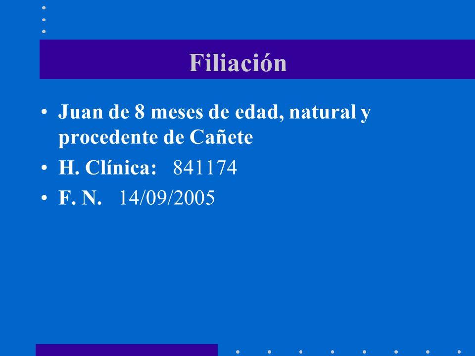 Filiación Juan de 8 meses de edad, natural y procedente de Cañete