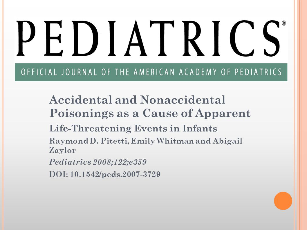 Accidental and Nonaccidental Poisonings as a Cause of Apparent