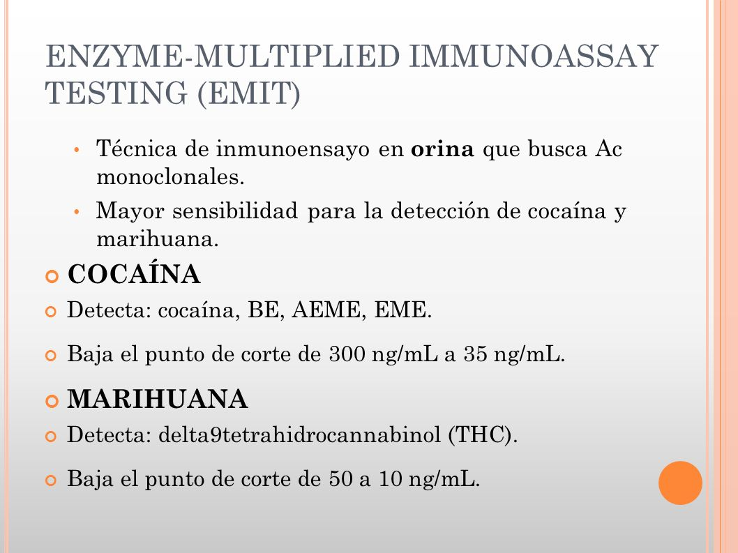 ENZYME-MULTIPLIED IMMUNOASSAY TESTING (EMIT)