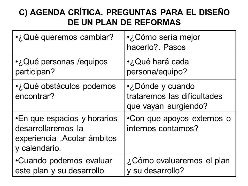 C) AGENDA CRÍTICA. PREGUNTAS PARA EL DISEÑO DE UN PLAN DE REFORMAS