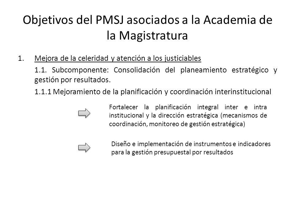 Objetivos del PMSJ asociados a la Academia de la Magistratura
