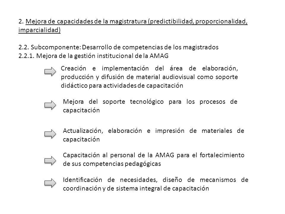 2. Mejora de capacidades de la magistratura (predictibilidad, proporcionalidad, imparcialidad)