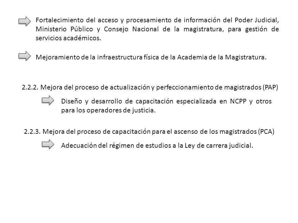 Fortalecimiento del acceso y procesamiento de información del Poder Judicial, Ministerio Público y Consejo Nacional de la magistratura, para gestión de servicios académicos.
