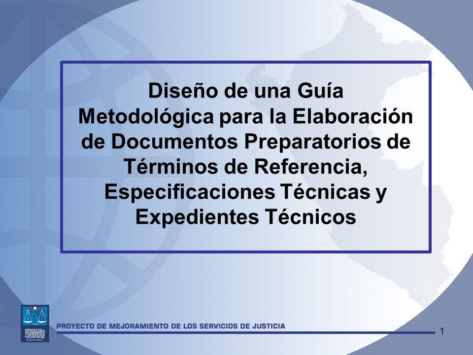 Diseño de una Guía Metodológica para la Elaboración de Documentos Preparatorios de Términos de Referencia, Especificaciones Técnicas y Expedientes Técnicos