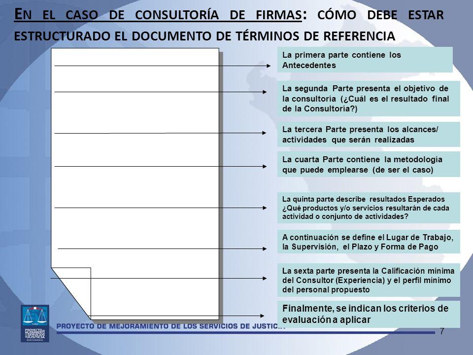 En el caso de consultoría de firmas: cómo debe estar estructurado el documento de términos de referencia
