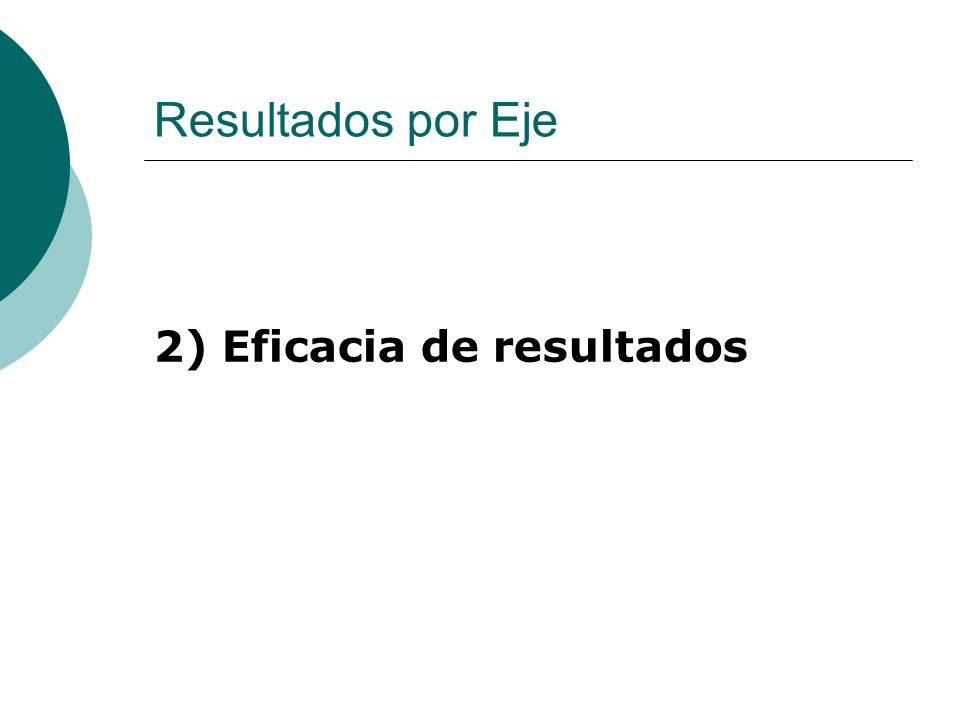 Resultados por Eje 2) Eficacia de resultados