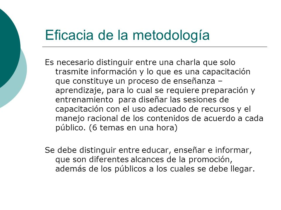 Eficacia de la metodología