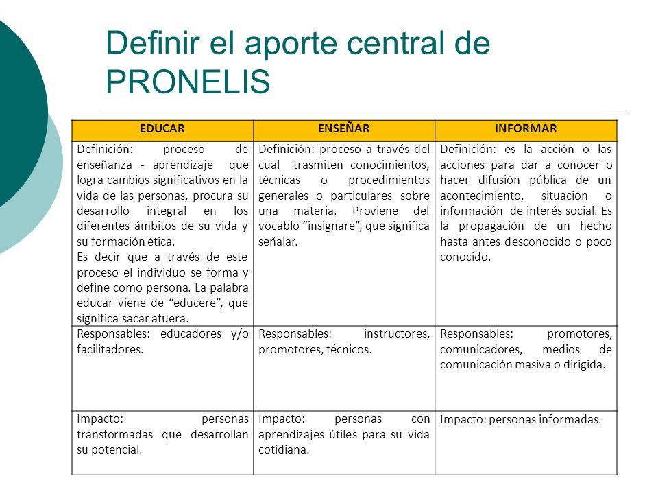 Definir el aporte central de PRONELIS